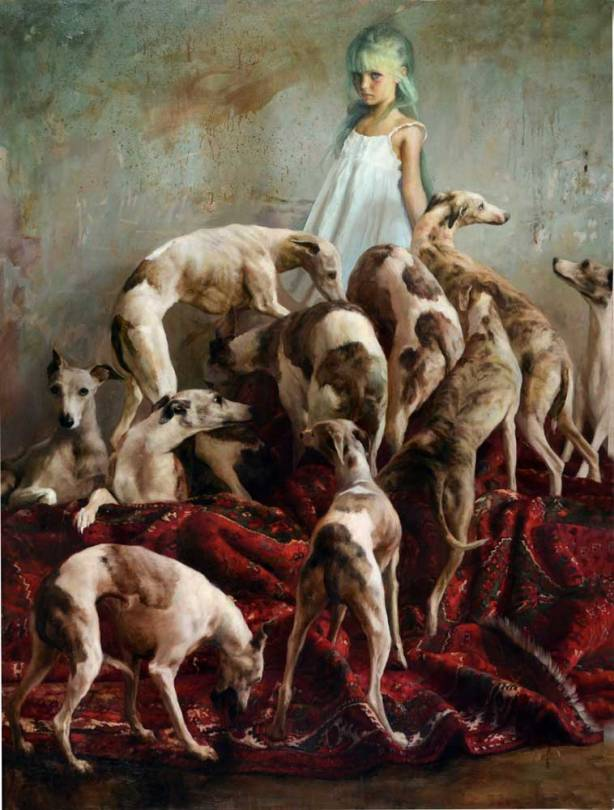Image of Guillermo Lorca painting 'Laura and the Dogs''